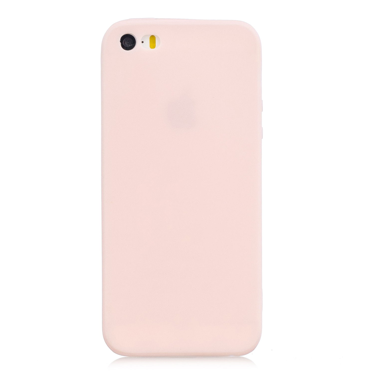 for iPhone 5/5S/SE Lovely Candy Color Matte TPU Anti-scratch Non-slip Protective Cover Back Case Light pink