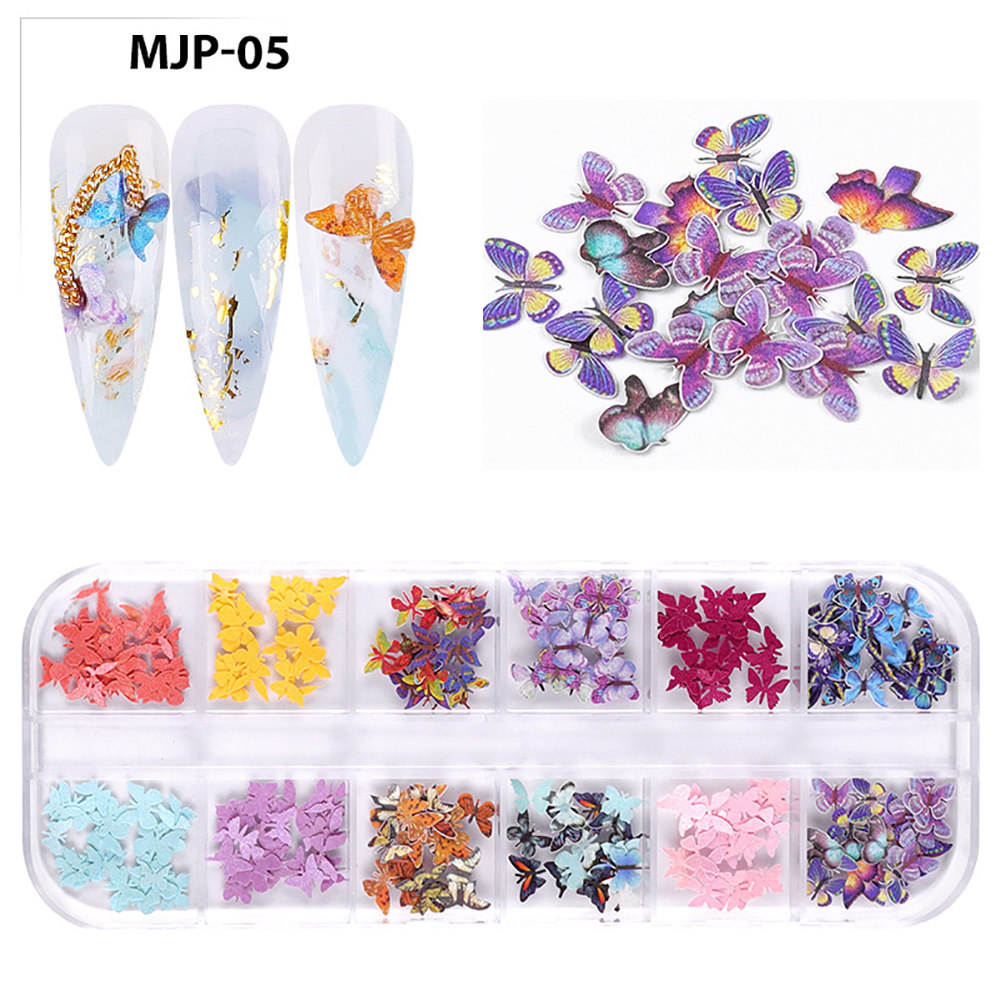 Nail Decorator Butterflies with little flowers for Christmas and Halloween nail art Nail jewelry set 05