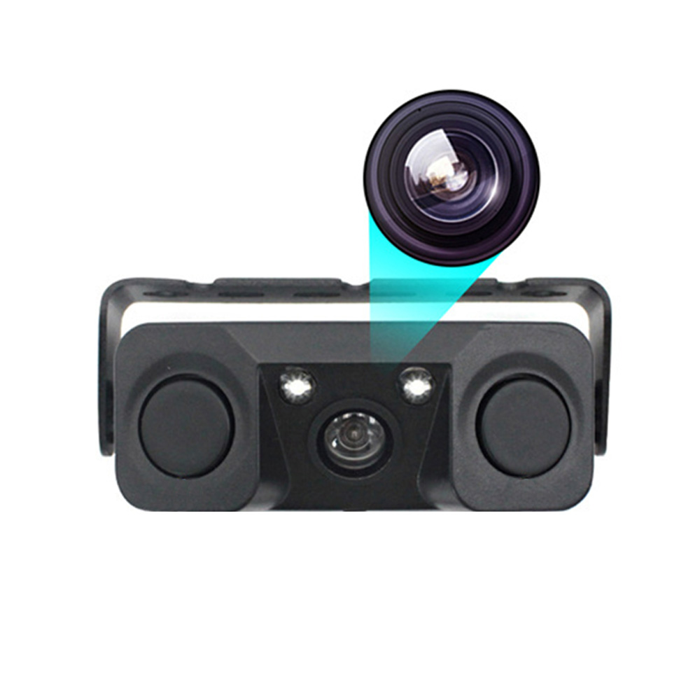 170 Degree 3 IN 1 Video Parking Sensor Car Reverse Backup Rear View Camera black