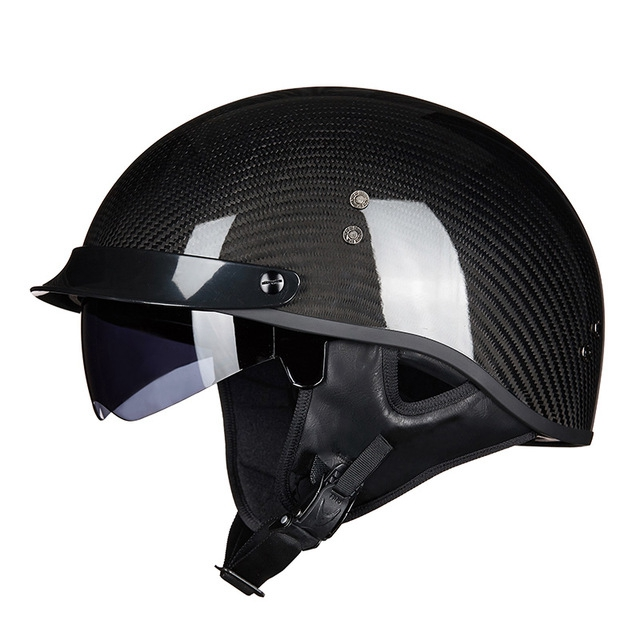 Breathable Half Face Motorcycle Helmet Retro Design Racing Motorbike Helmets  Carbon black_XL