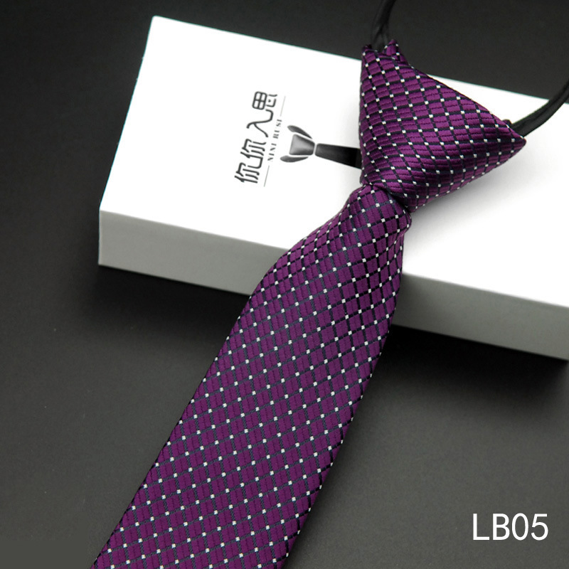 Men's Fashion Zip Up Stripe Dot Print Casual Narrow Polyester Yarn 5.5CM Neck Tie LB05