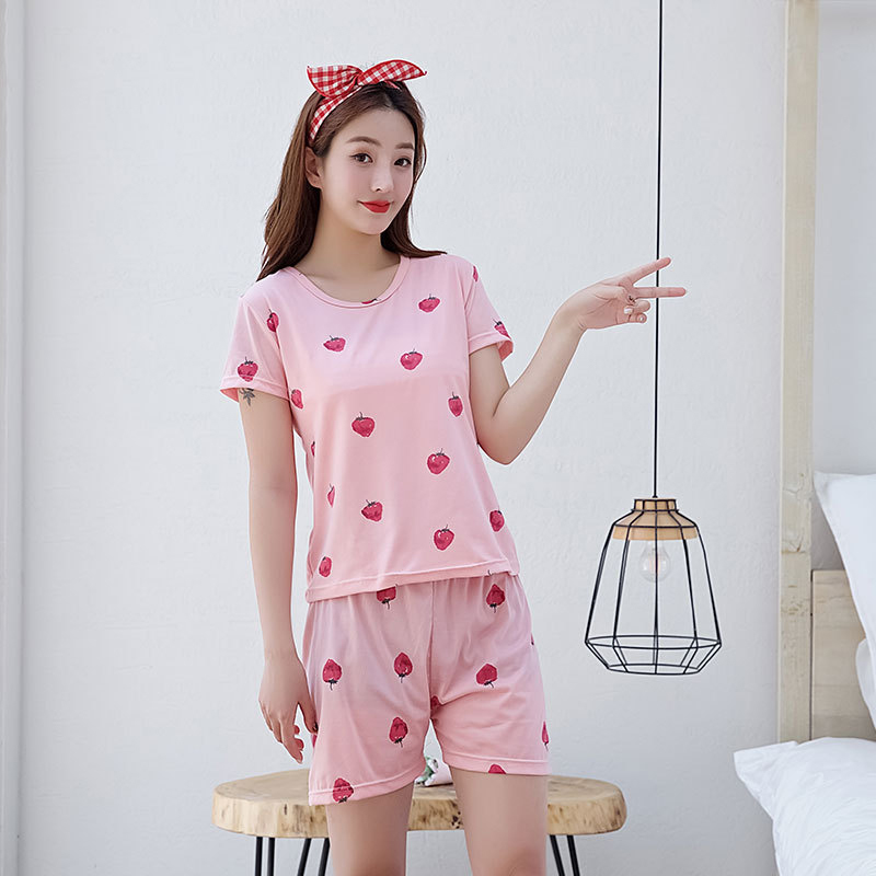 Woman Fashion Short Sleeves Cute Pattern Printing Homewear Suit #F Strawberry_L