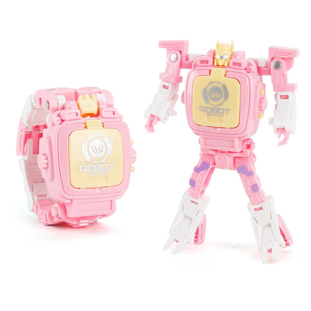 Cartoon Transformable Robot Electronic Wristwatch Digital Display Watch Child Boy Girl Toy pink