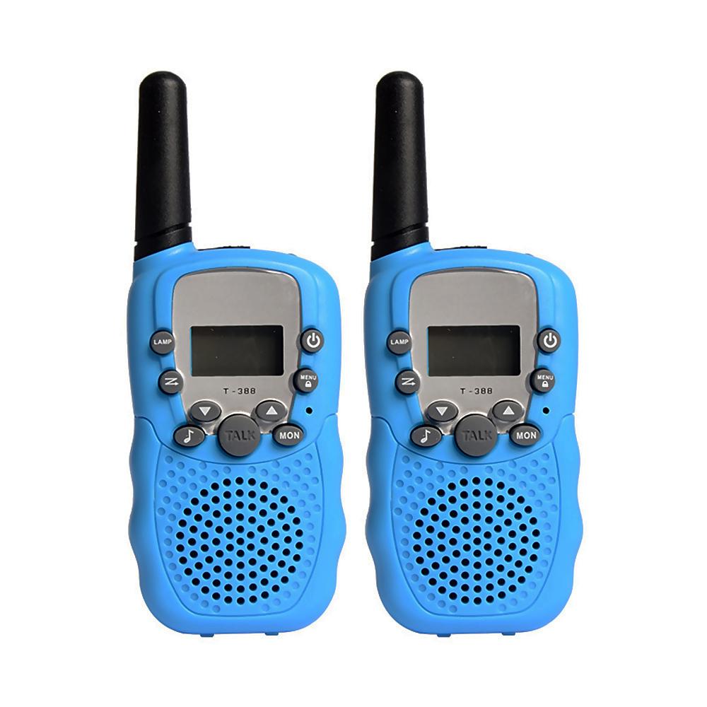 2Pcs Kids Walkie Talkies Toys with Earphones Flashlights Radio for Outdoor Blue