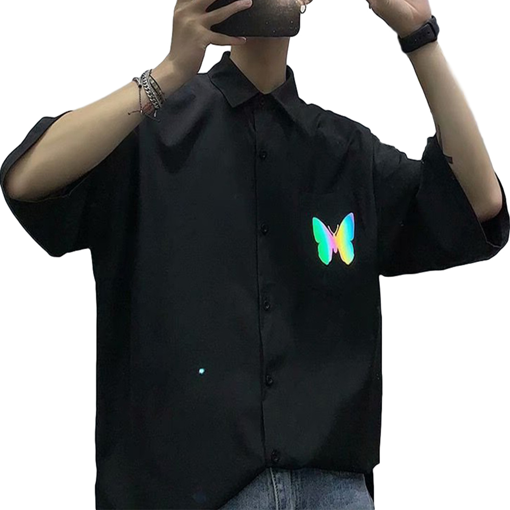 Men's Shirt Summer Large Size Loose Short-sleeve Uniform Shirts with Tie Black _L