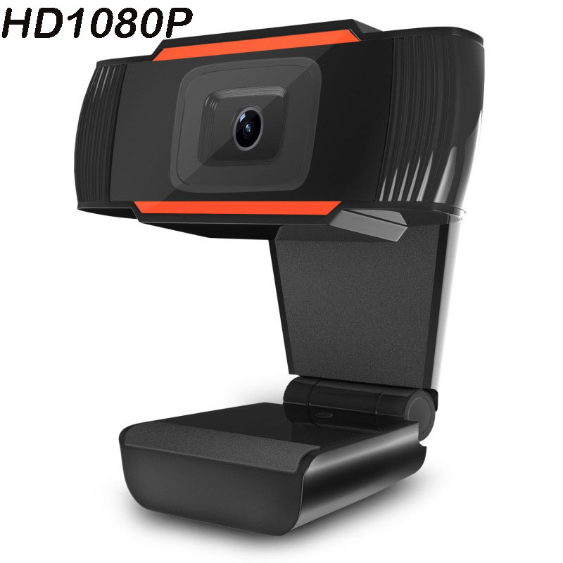 HD Webcam USB Camera Rotatable Video Recording Web Camera with Microphone for PC Computer 1080P Orange