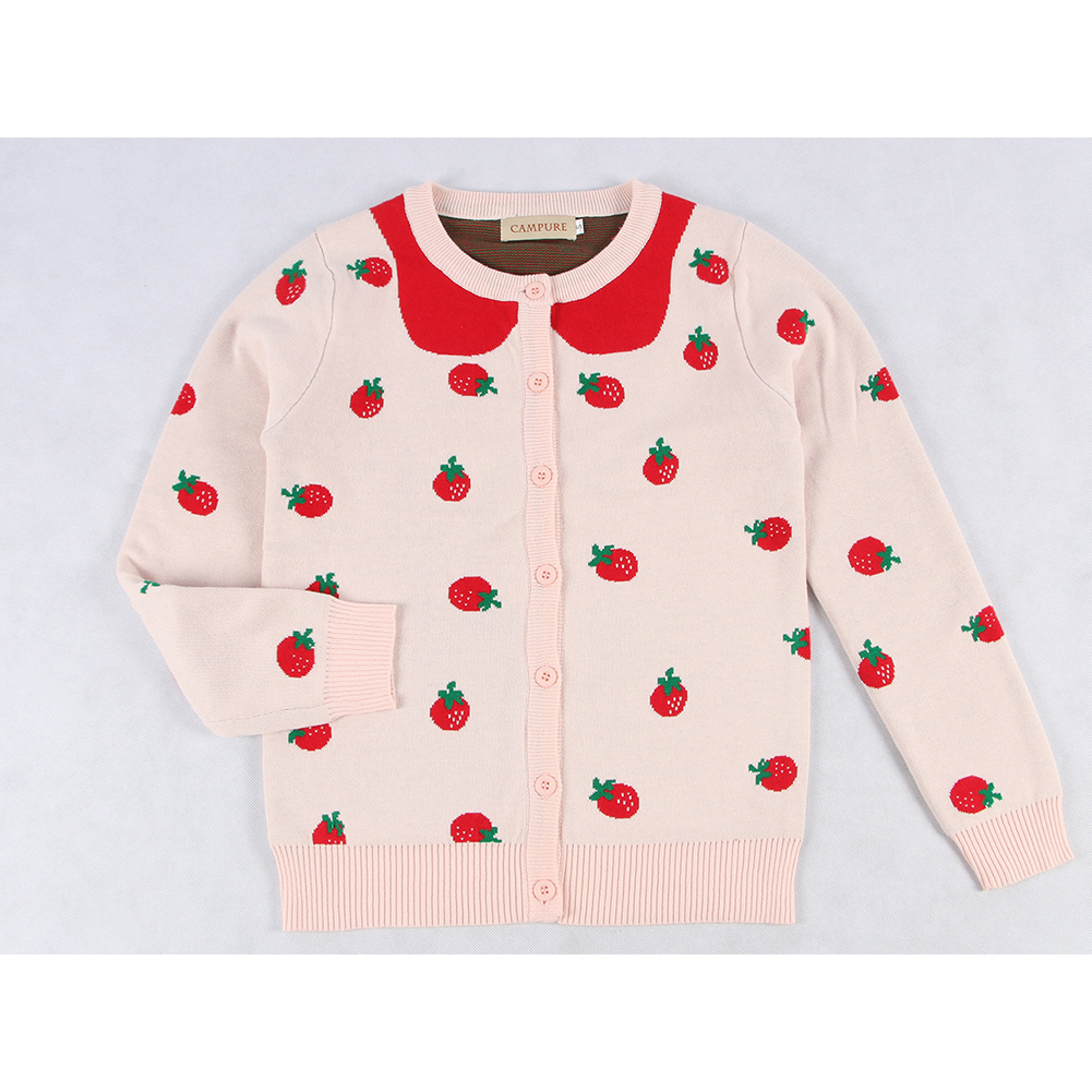 Children Kids Pink Strawberry Shaped Jacquard Pattern Long Sleeve Knitting Tops Coat Pink_6Y (130cm)