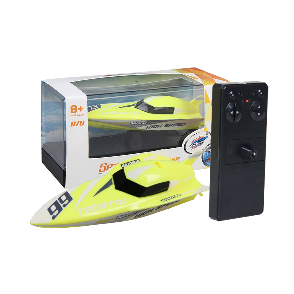 Cool 2.4G Kids Toys 4 Functions Mini RC Speedboat Boat Remote Control Toys for Boys Children  yellow