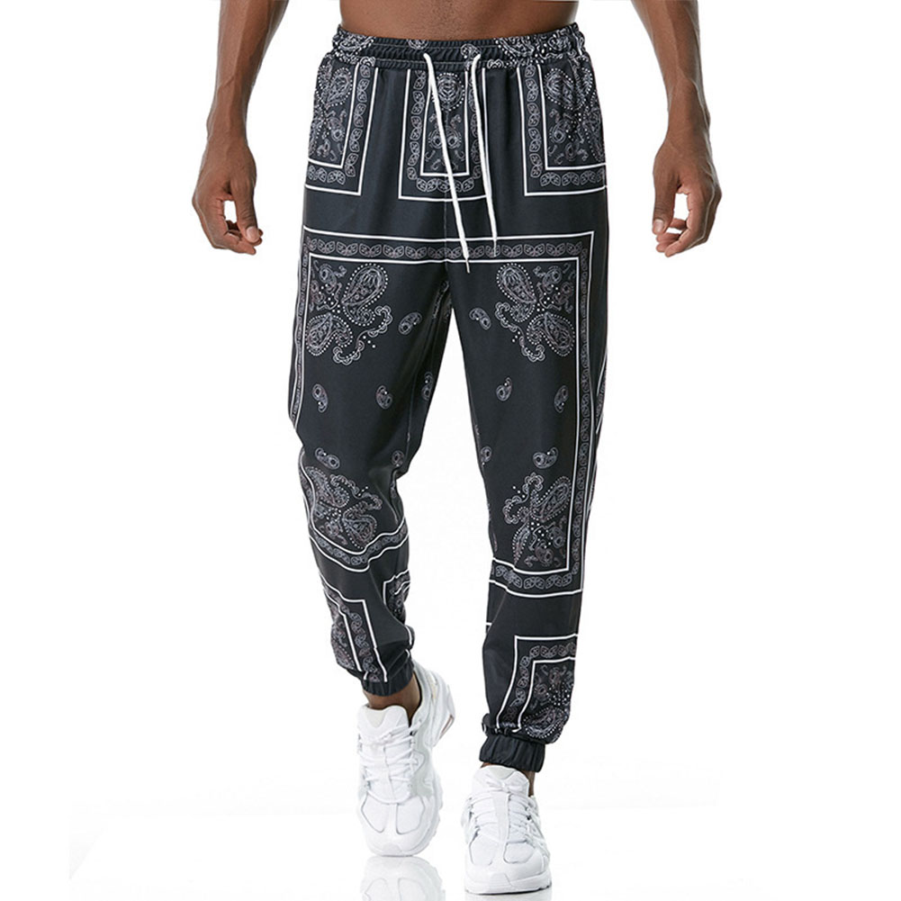 Men's Casual Pants Paisley Retro Style Printing Casual Sports Jogging Pants Black _L