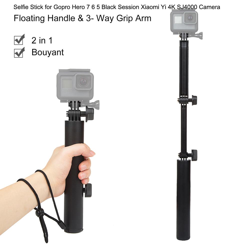 3 Way Grip Waterproof Monopod Selfie Stick for Gopro Hero 7 6 5 Black Session Xiaomi Yi 4K SJ4000 Camera Tripod Accessory black