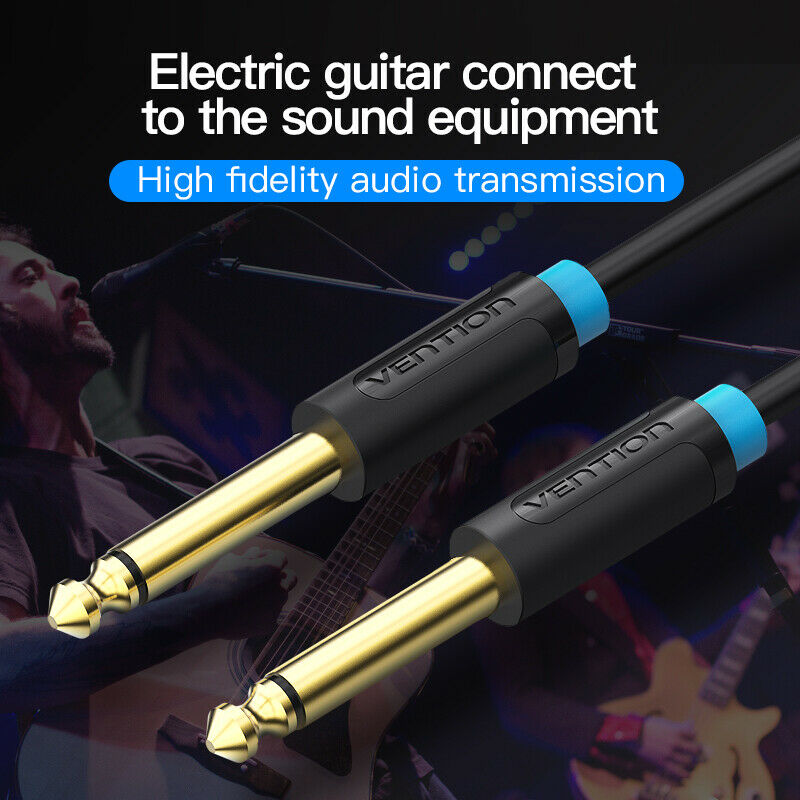 Vention Aux Guitar Cable 6.5 Jack Audio Cable 6.35mm Aux Cable for Stereo Guitar Mixer Amplifier Speaker  black