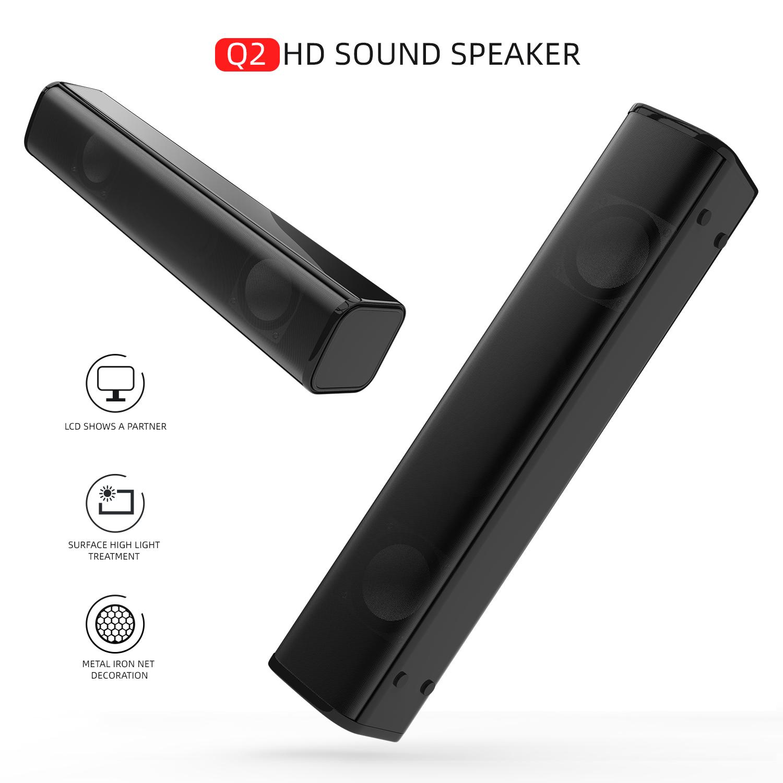 Q2 HD Sound Speaker Portable Wired Loudspeaker for Phone Computer TV black