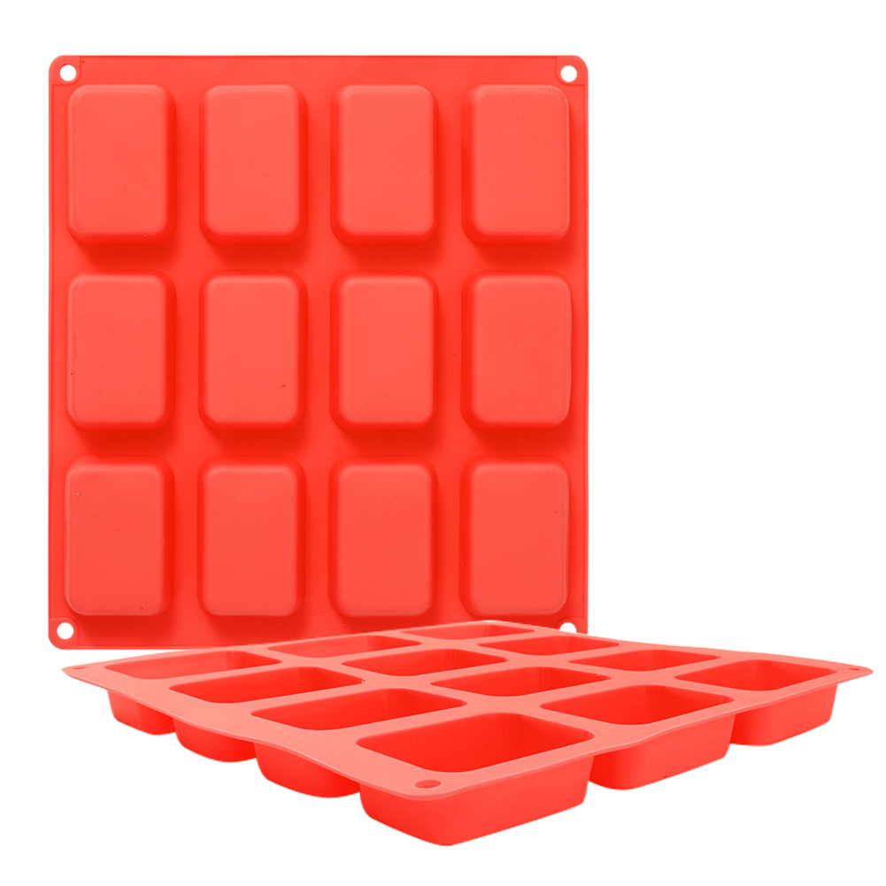 DIY 12 Cavity Silicone Mould Rectangular Baking Tool for Cake Soap Chocolate 25.1x27.9x2cm