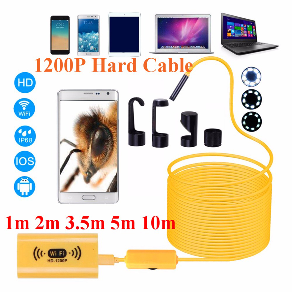 HD Adjustable 8 LEDs WiFi Endoscope Camera 8.0mm IP68 Waterproof Endoscope 1M 2M 3.5M 5M 10M for iOS Android Windows 2M