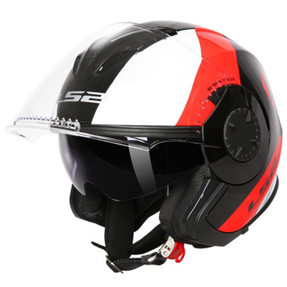 LS2 OF570 Helmet Dual Lens Half Covered Riding Helmet for Women and Men Motorcycle Helmet Casque Black and red / bunting XXL