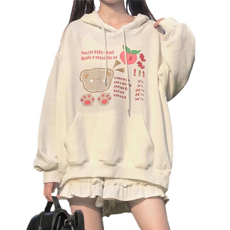 Women's Hoodies Fall Winter Loose Long-sleeve Hooded Sweater white_M