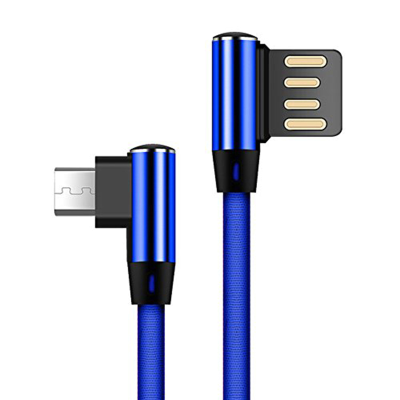 Double Elbow 90 Degree Micro USB Nylon 2.4A Fast Charging Data Transmission Cable Charger Adapter for Phone blue