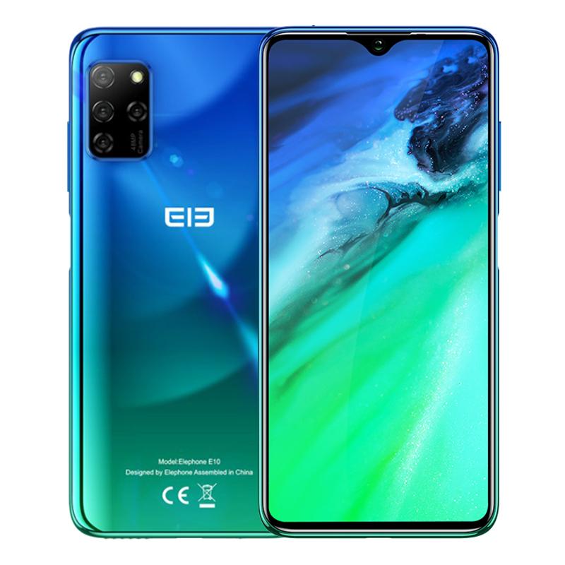 Elephone E10 Mobile Phone 6.5Inch MT6762D Octa Core 4GB 64GB 4000mAh Android 10 Quad Camera 48MP NFC Side Fingerprint Smartphone Aurora green