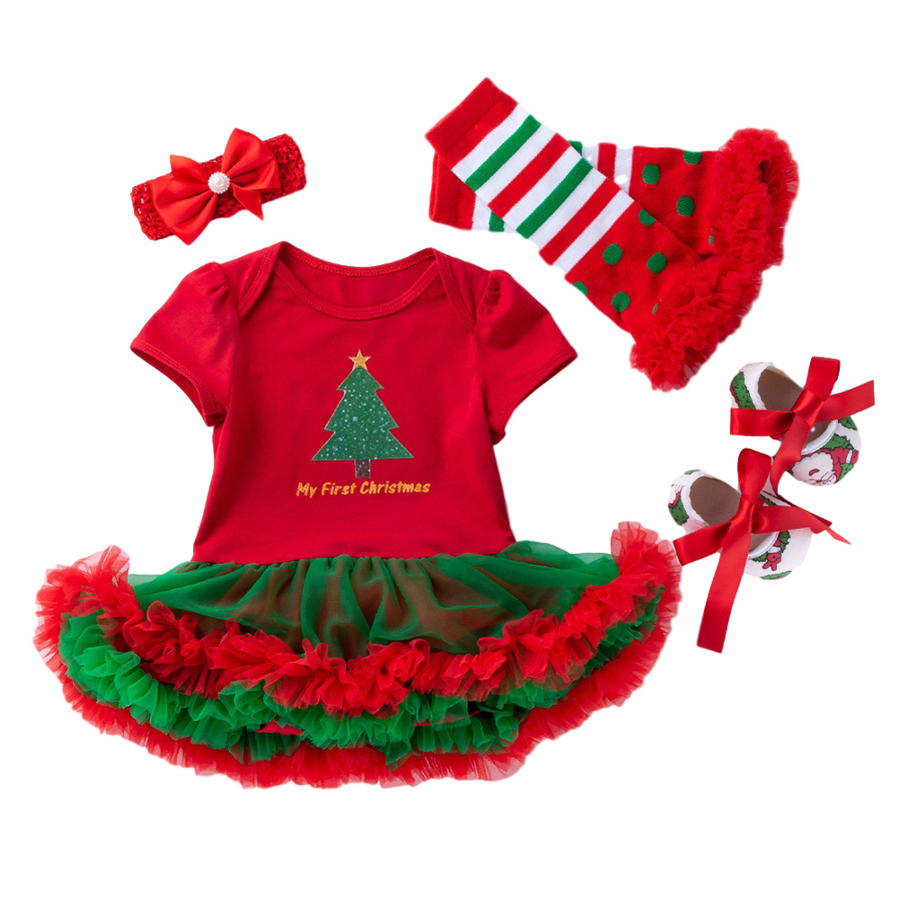 4 Pcs/set  Baby Short-sleeve Dress + Headwear + Socks+ Shoes for 0-2 Years Old Kids 1_80