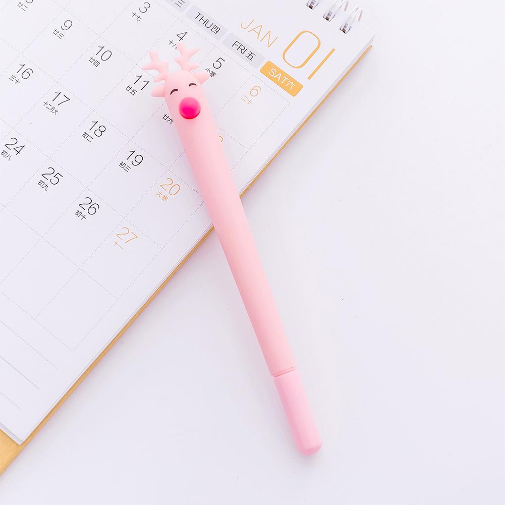 Cute Cartoon Deer Christmas Moose Gel Pen Black 0.5mm Gel Pen Pink_0.5mm