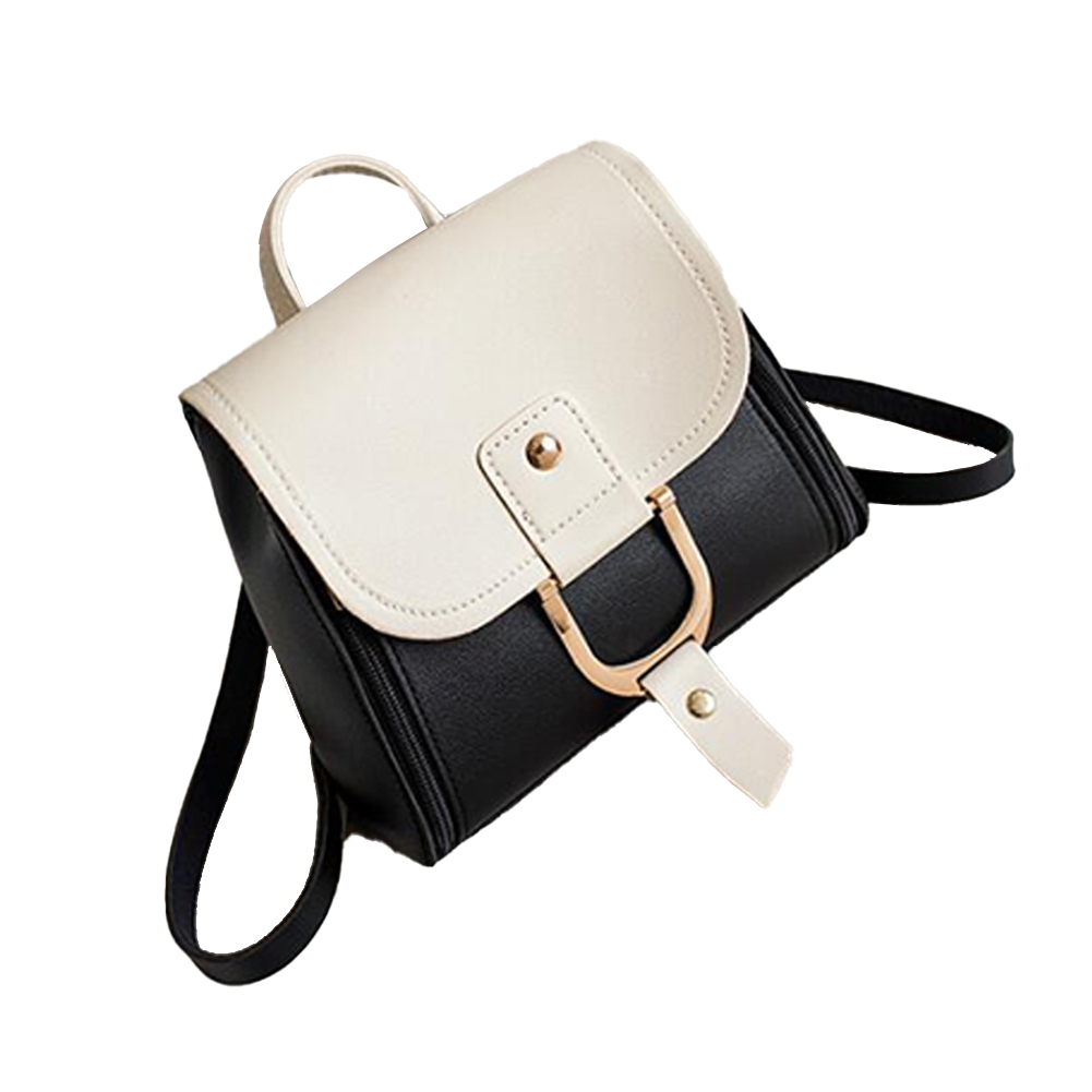 Women's PU Leather Hit Color Casual Small School Bag Shoulder-Shoulder Fashion Bag black