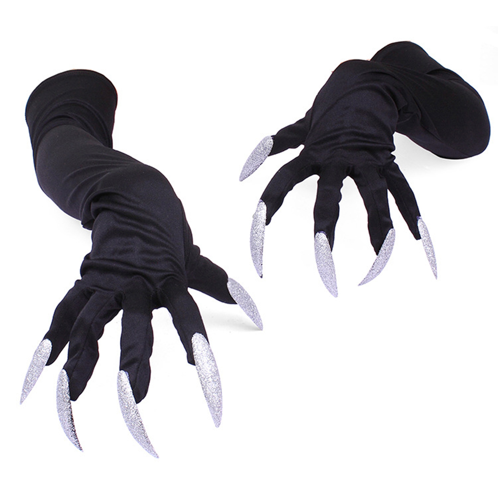 Milk Silk Glove Halloween Party Cosplay Props Gloves Long Nails Claw Punk Performance Thin Gloves Cuffs Black white