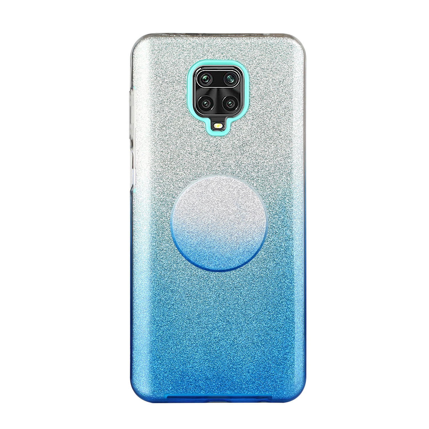 For XIAOMI CC9E/A3/10/10 PRO/K20/K20 pro Phone Case Gradient Color Glitter Powder Phone Cover with Airbag Bracket blue
