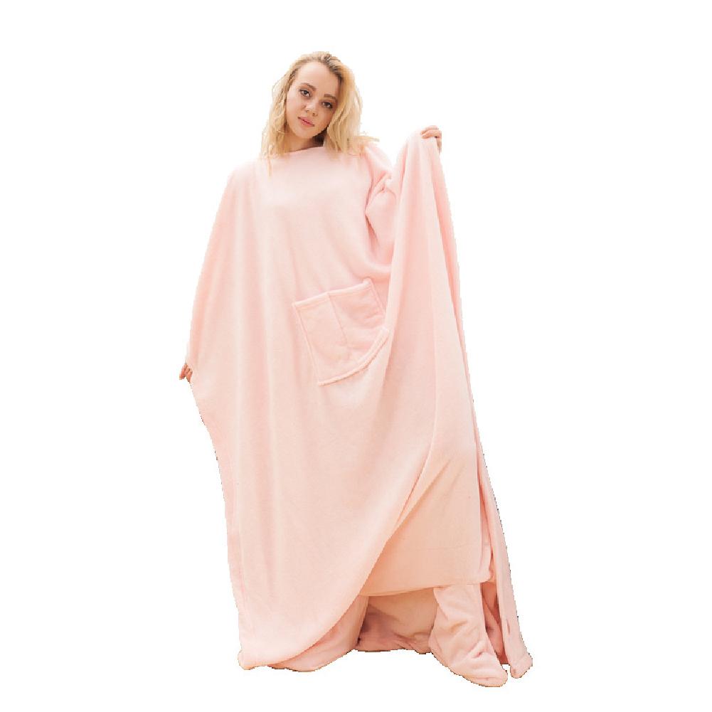 Wearable Fleece Blanket with Sleeves Pockets for Adult Women Men Wrap Throw Blanket