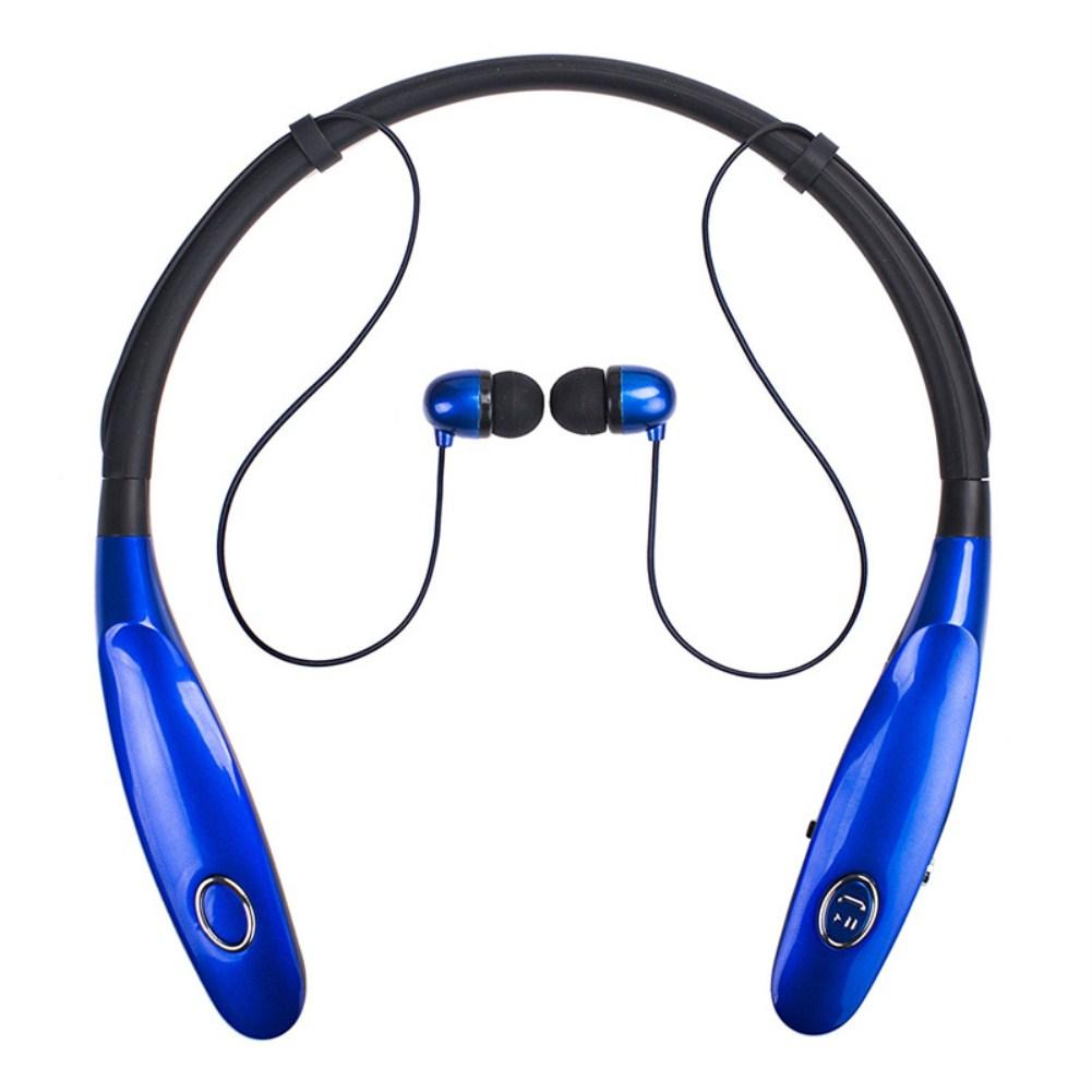 TWS Bluetooth Earphone Wireless Headphones Hanging Neck Type Sports Earbuds blue