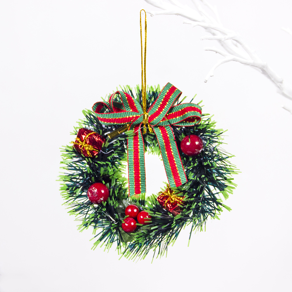 Christmas Decorative Ornaments Red Fruit Gift Bag Garland Pendant Mini Christmas Garland Wreath E green gift package red fruit
