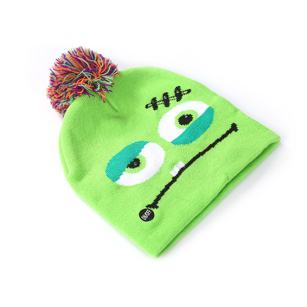 Halloween Pumpkin Ghost Knit Hat with Light Stretchable Unisex Adults Kids Children Emoticon package_20*21CM