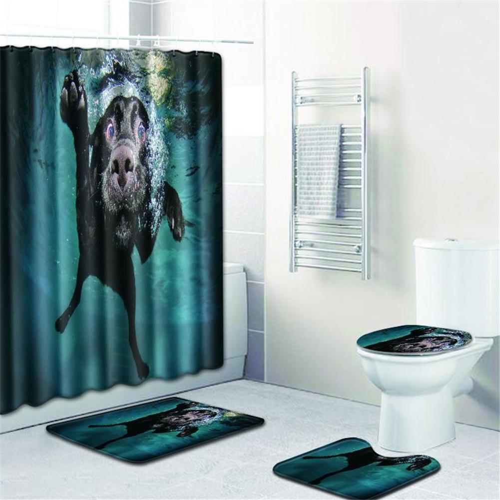 4  Pcs Non-slip Rug Toilet  Lid  Cover Bath  Mat Waterproof Bath  Curtain w180623-d030_45*75cm