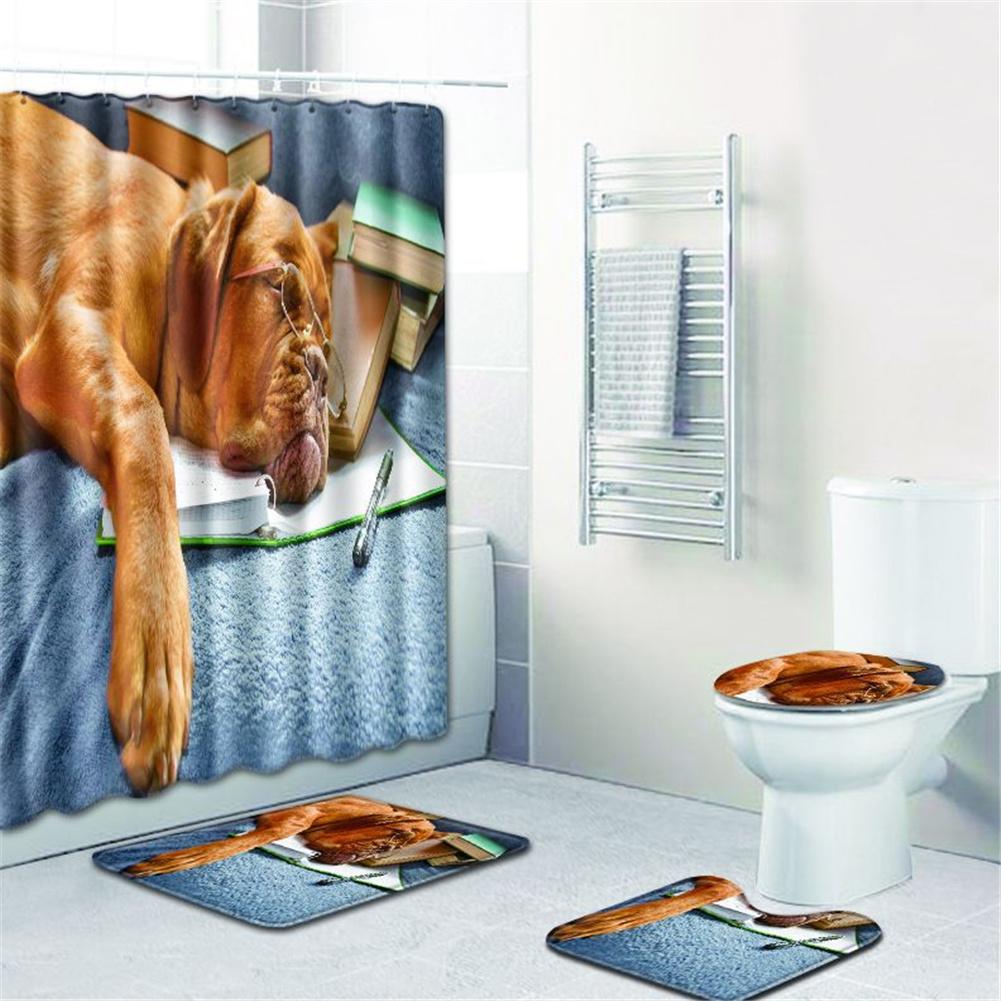 4  Pcs Non-slip Rug Toilet  Lid  Cover Bath  Mat Waterproof Bath  Curtain w180623-d032_45*75cm
