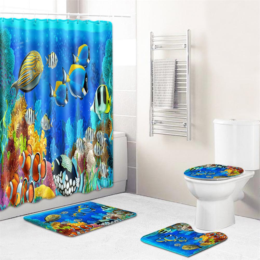4  Pcs Non-slip Rug Toilet  Lid  Cover Bath  Mat Waterproof Bath  Curtain j191113-b001_45*75cm
