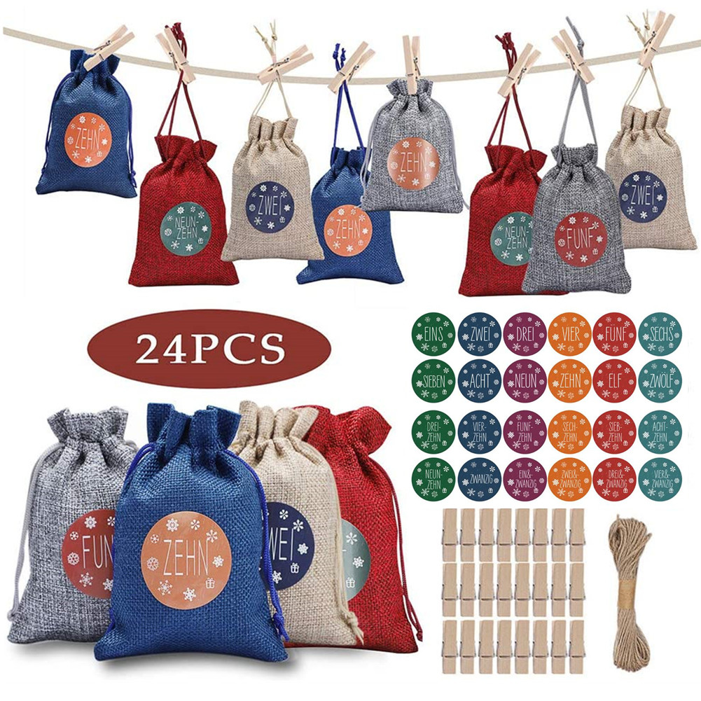 DIY Advent Calendar for Filling Christmas Gift Bags 1-24 Advent Numbers Sticker