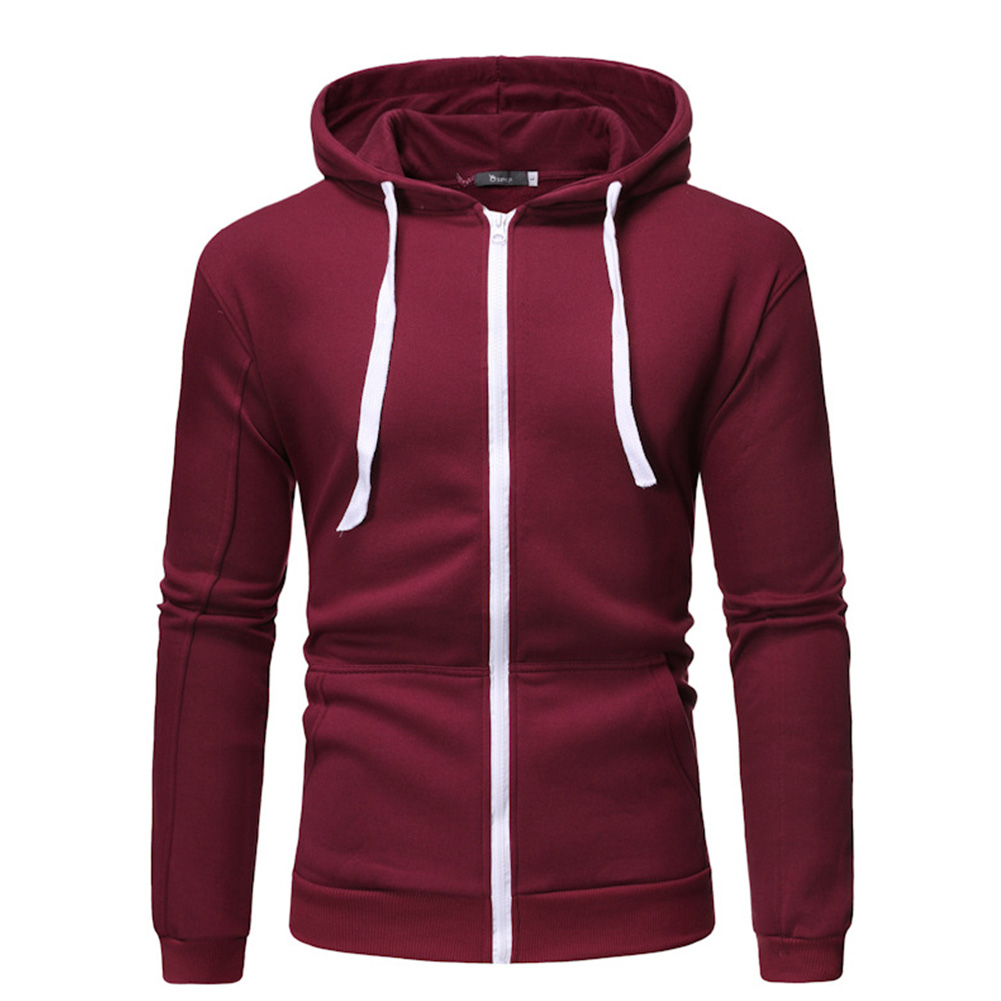Men Long Sleeve Zipper Hoodie Fashion Solid Color with Drawstring Sports Casual Sweatshirt  Wine red_XXL