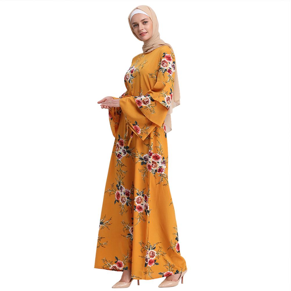 Women Long Maxi Dresses Fashionable Printing Large Hem Dress