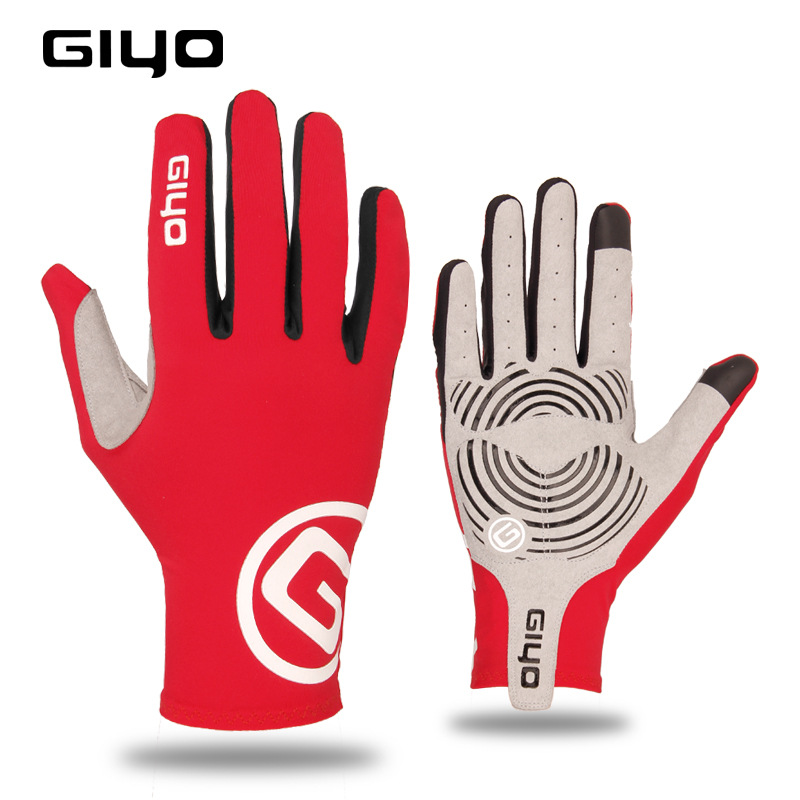 Giyo Cycling Full Finger Gloves Touch Screen Anti-slip Bicycle Bicicleta Road Bike Long Glove red_M