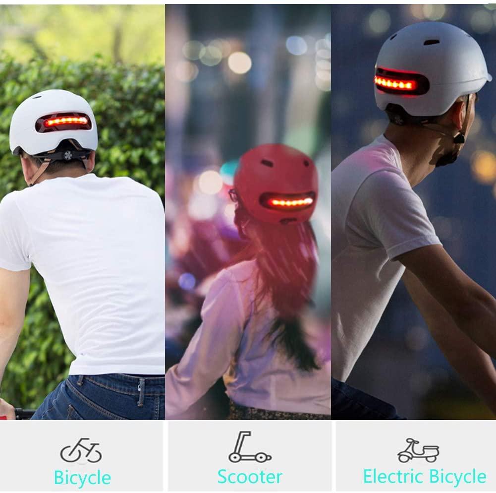 [US Direct] Smart4u Smart Bike Helmet with 3 Types of Alert Lights,Smart&Safe Bling Helmet,Comfortable, Lightweight, Breathable&Waterproof Cycling Helmet white