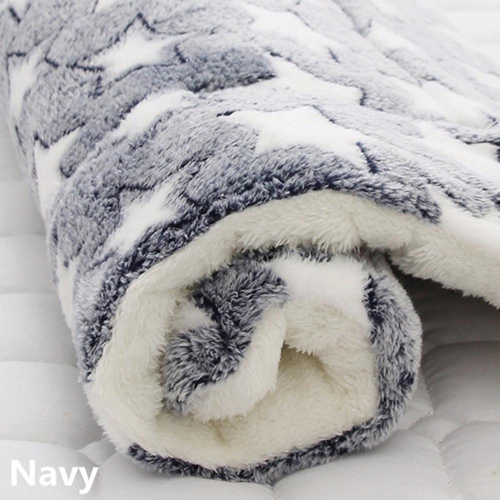 Pet Mat Thickening Warm Autumn Winter Cat Dog Blanket Anti-slip Cushion Blue white star_4# 61*41cm