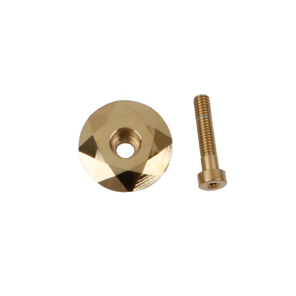 MEROCA Mountain Bike Bearing Cover Modified Front Fork Head Cover  Gold top cover with screws