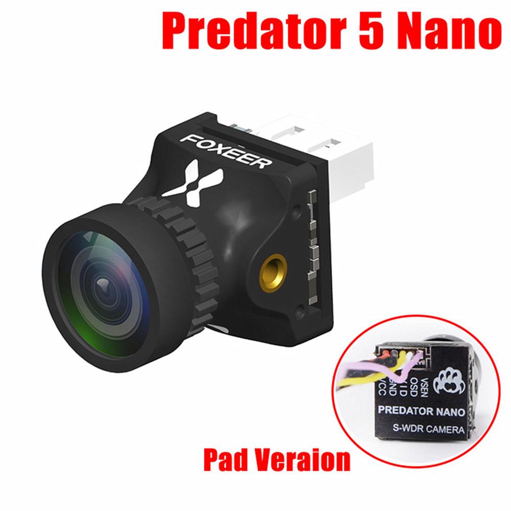 Foxeer Predator V5 Nano Full Case Racing FPV 1000TVL Camera Switchable Super WDR OSD 4ms Latency Upgraded Black pad