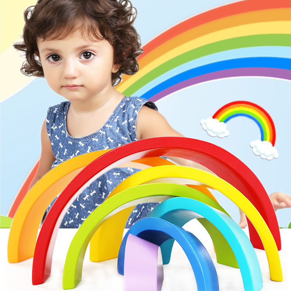 7Pcs Wooden Rainbow Arch Bridge Blocks Educational Puzzle Toy for Infant Kids