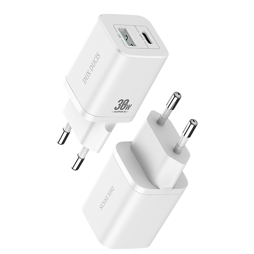 Mobile Phone Fast Charger PD+QC3.0 Dual Port 30w Fast Charge Mobile Phone Charger(EU Plug) white