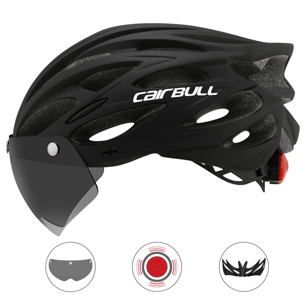 Cairbull Helmet Ultralight Off-road Mountain Bike Cycling Helmet with Removable Visor Taillight black_M / L (54-61CM)