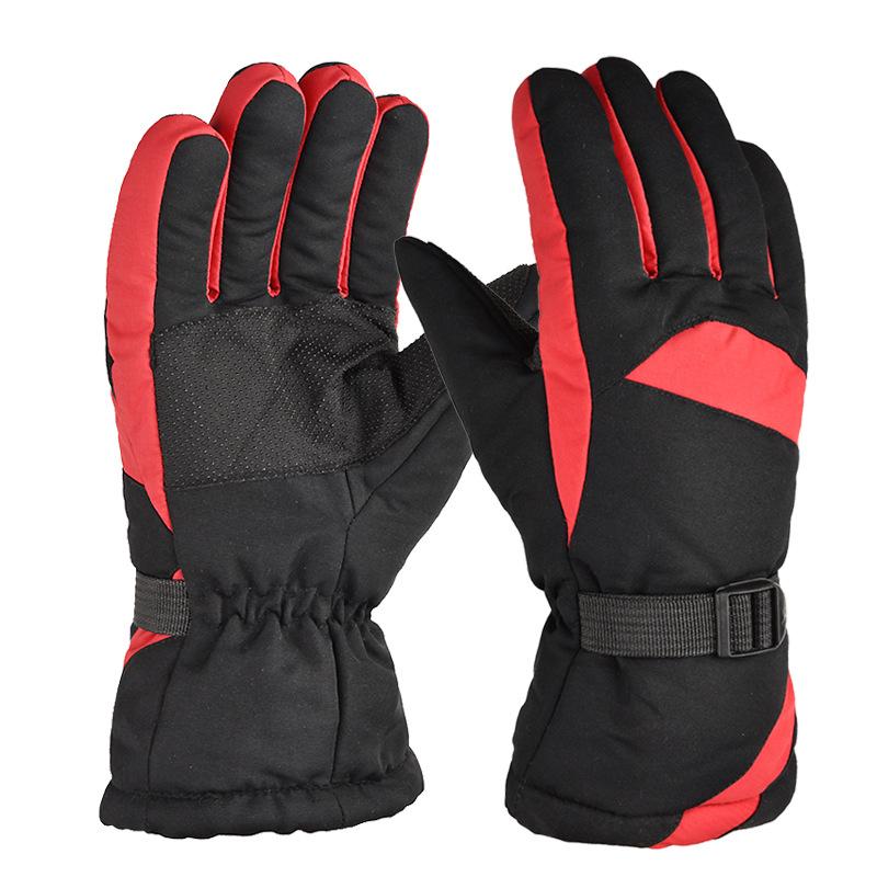 Winter Ski Gloves Snow Outdoor Sport Women Men Waterproof Warm Snowmobile Motorcycle Snowboard Ski Gloves red_One size