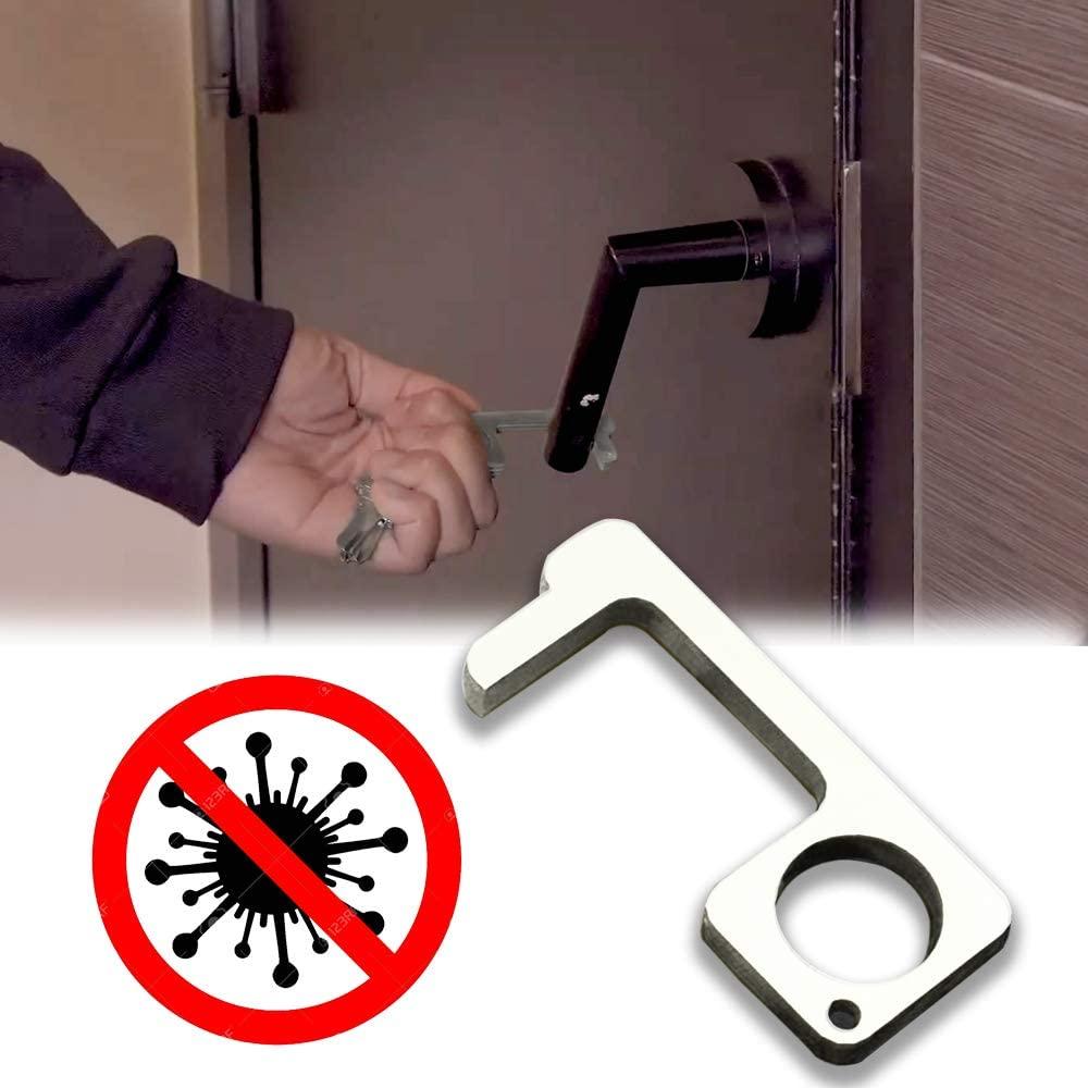 Handheld Non-Contact Door Opener Stylus Keychain Tool Aluminum silver
