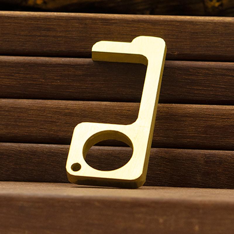 Handheld Non-Contact Door Opener Stylus Keychain Tool Brass gold