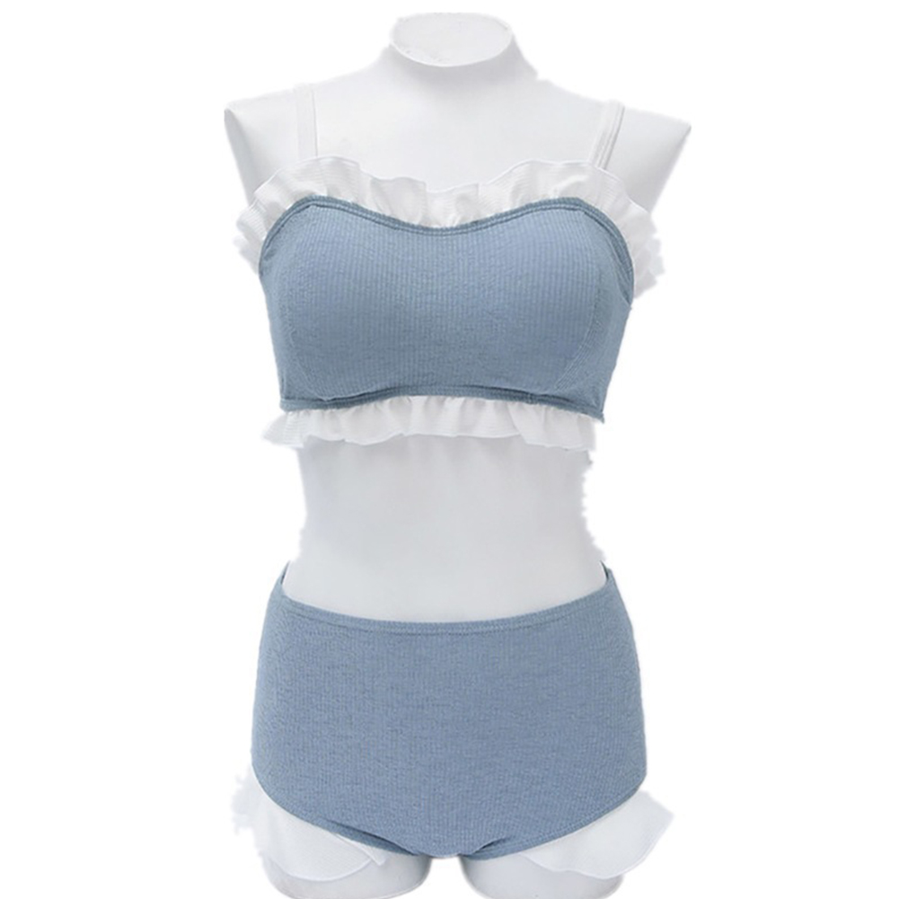2 Pcs/set Women Swimsuit Sexy Solid Color Ruffled Top+ High-waist Shorts blue_l