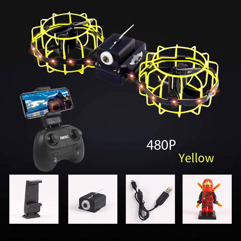 Gesture Remote Control Quadcopter Real-time Aerial Mobile Phone Remote Control Tumbling Fixed High Combat Drone Yellow 480P aerial version